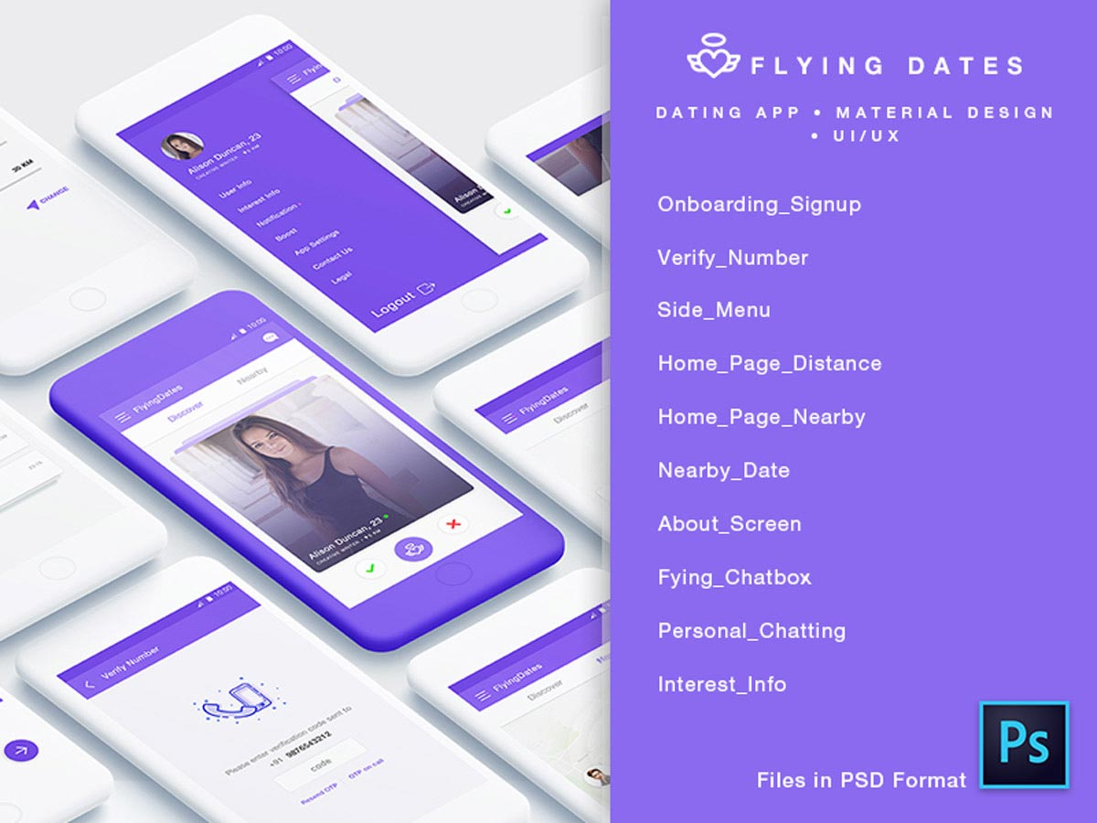 Dating app psd free download