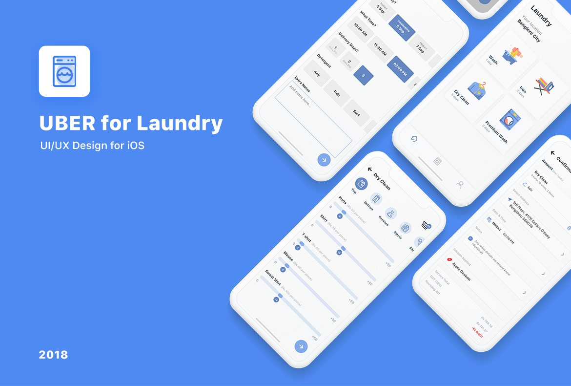 Uber for Laundry- UI/UX Design for iOS - Appening